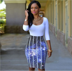 Hot Sale 3D Silver Sequined Sexy Dress Printed Slim Pack Hip Nightclub Party Club Dresses Low Price S Style 1