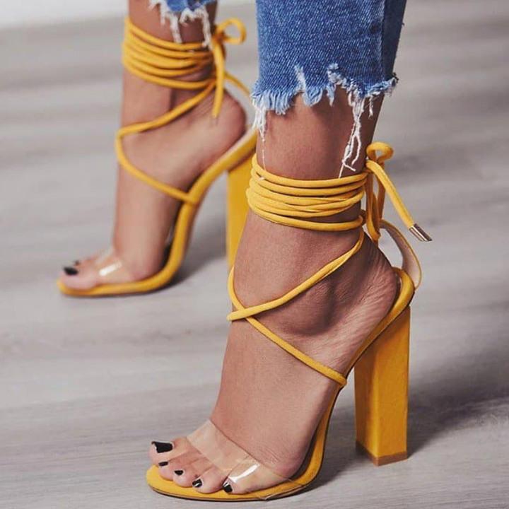 Women Pumps 2019 Women Heel Sandals Women Lace Up Transparent Shoes Summer Ankle Strap High Heels Yellow 43 5