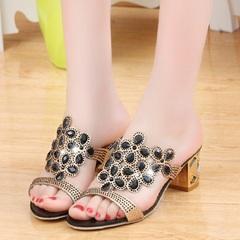 Sandals Ladies Slides Women Slippers Sandals Summer Crystal Shoes Peep Toe Middle Heels Zapatos Black 35