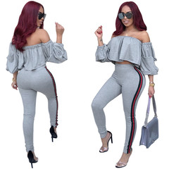 Hot Sale Women Tight Suit Laminated Sleeve Stripe Casual Top Office Party Club Sexy Suit Gray M