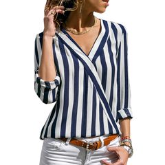 Low price Snapped Up Women Striped Blouse Shirt Long Sleeve Blouse V-neck shirt dresses Blue S