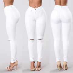 High Waist Skinny Fashion Jeans for Women Hole Vintage Girls Slim Ripped Denim Pencil Pants White S