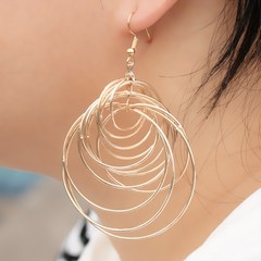 Punk Big Circle Drop Earrings For Women Bohemian Party Sexy Club Fashion Jewelry Gold 8.5*5CM