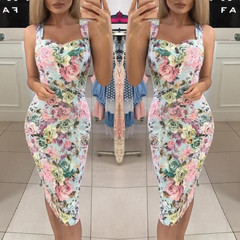 2019 Women's Dresses Summer Dress Womens Print Color Block Sleeveless Dress A-Line Mini Sundress S Printed skirt