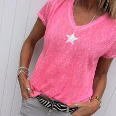 Star Printed T-shirt Women Summer Short Sleeve Yellow Cotton Tee Shirt Tops Sexy V Neck Tee Tops Pink S
