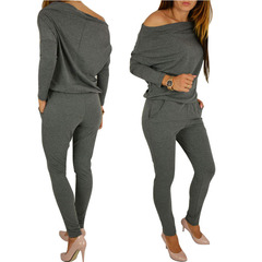 Womens Sexy Jumpsuit Overalls Long Sleeve Casual Rompers Summer Off Shoulder Playsuit Bodysuit Gray S