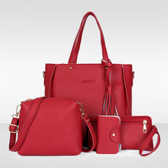 Fashion Red Four-piece Inclined Span Handbag Fringed Crossbody Shoulder Tote Red Ordinary