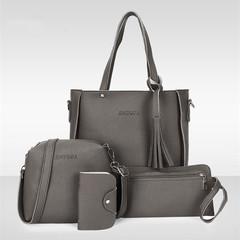 Fashion Red Four-piece Inclined Span Handbag Fringed Crossbody Shoulder Tote Dark gray Ordinary