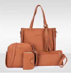Fashion Red Four-piece Inclined Span Handbag Fringed Crossbody Shoulder Tote brown Ordinary