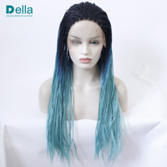 Synthetic Wigs Lace Front Hair Wigs Black & Blue Gradient Three Colors Long Dreadlocks As Pictures 24Inch
