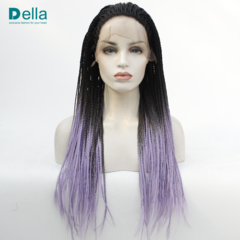 Synthetic Wigs Lace Front Hair Wigs Black & Gray & Purple Gradient Special Long Dreadlocks As Pictures 24Inch