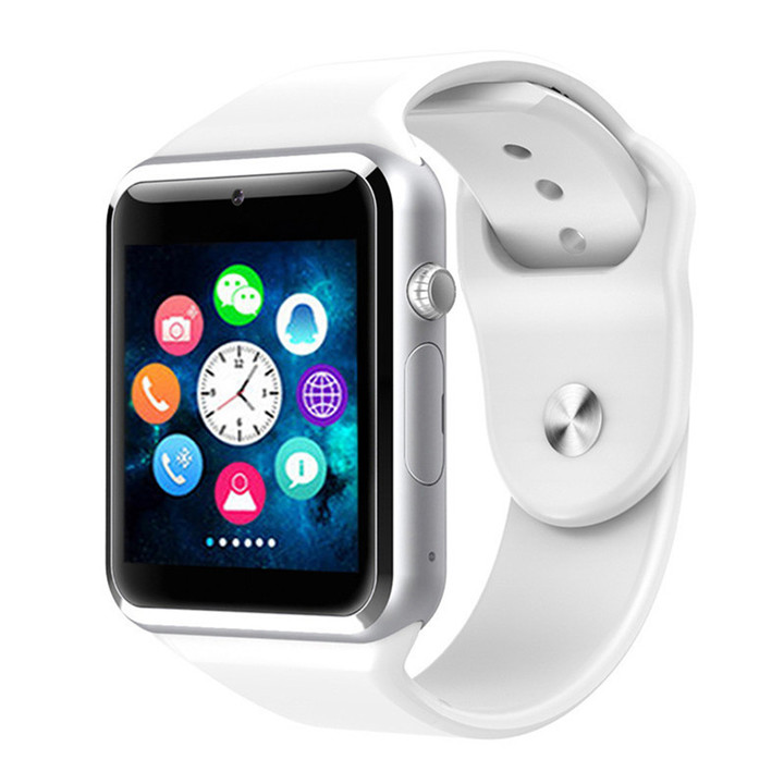 A1 WristWatch Men Women Bluetooth SmartWatch Sport Pedometer with SIM Camera Smartwatch For Android White one size