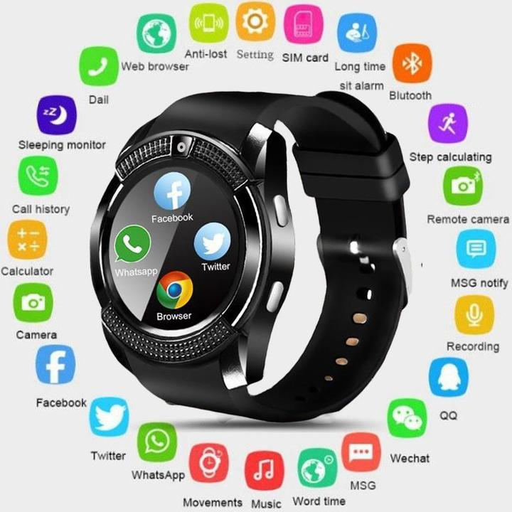 V8 Men Bluetooth Sport Watches Women Ladies Smartwatch with Camera Sim Card Slot Android Phone Black One Size