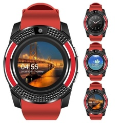 V8 Men Bluetooth Sport Watches Women Ladies Smartwatch with Camera Sim Card Slot Android Phone Red One Size
