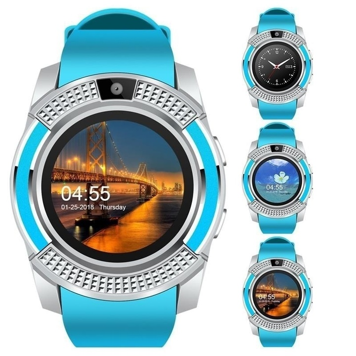 V8 Men Bluetooth Sport Watches Women Ladies Smartwatch with Camera Sim Card Slot Android Phone Blue One Size