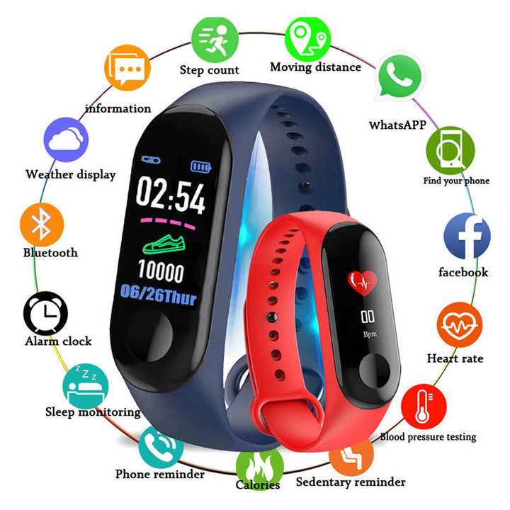 CANTONS New Smartwatch M3 Wristband Bracelet Heart Rate Fitness Tracker Sleep Monitor Blue One Size