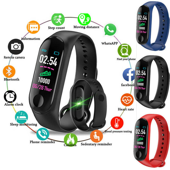 CANTONS New Smartwatch M3 Wristband Bracelet Heart Rate Fitness Tracker Sleep Monitor Black One Size