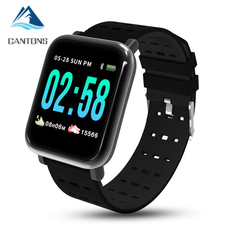 CNATONS A6 Smart Watch Heart Rate Monitor Sport Fitness Tracker Blood Pressure Waterproof Smartwatch Black One Size