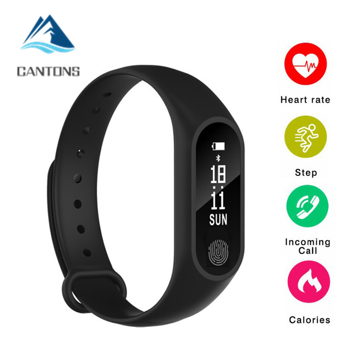 M2 Smart Bracelet Heart Rate Monitor Fitness Tracker Bluetooth Smartwatch for Android iOS Phone Black One Size