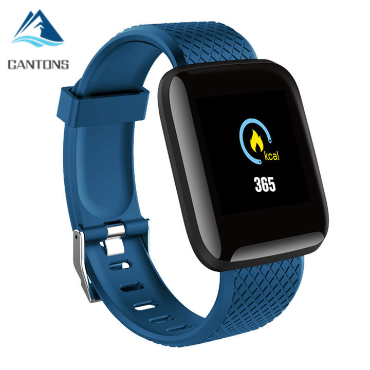CANTONS Men Blood Pressure Waterproof Smartwatch Heart Tracker Watch GPS Sport For Android IOS Blue One Size