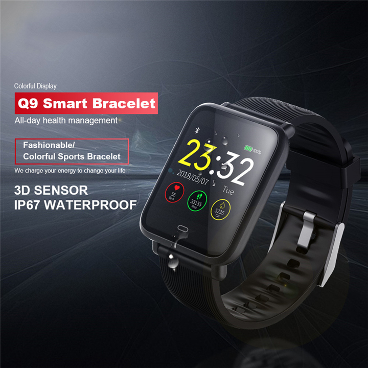 CANTONS Q9 Blood Pressure Heart Rate Monitor IP67 Waterproof Fitness Trakcer Men Women Smartwatch Black One Size