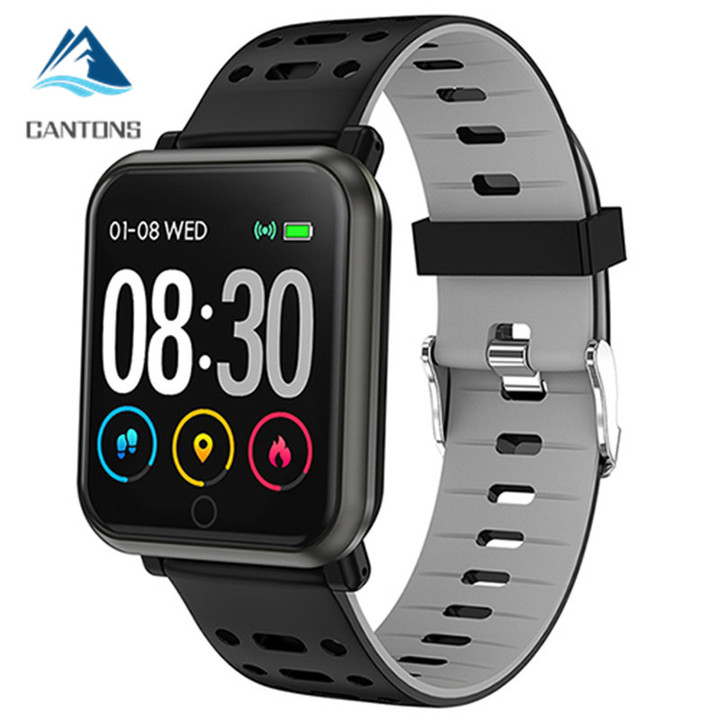 CANTONS Fitness Tracker IP68 Waterproof Smartwatch Clock Blood Pressure Men Watch for ios Android Black One Size