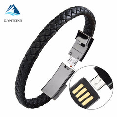 CANTONS Portable Leather Micro USB Bracelet Charger Data Charging For iPhone Android Type-C Phone Black 20cm for iPhone