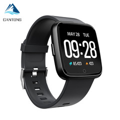 CANTONS Y7 Long Standby Time Smartwatch Blood Pressure Oxygen Waterproof BT4.0 for IOS Android Silicome Black One Size