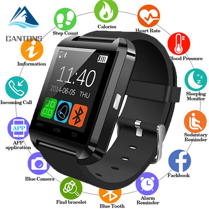 CANTONS Bluetooth Smartwatch U8 For iPhone IOS Android Smart Phone Wear Clock Wearable Device Black One Size