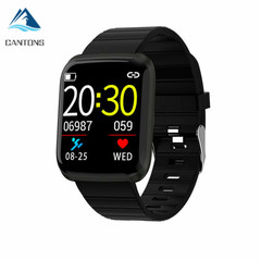 2019 CANTONS 116 PRO Bluetooth Smartwatch Fitness Tracker Monitor Bracelet for IOS Android Black One Size