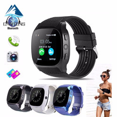 CANTONS T8 Smartwatch Pedometer For Phone Android Wrist Watch Support SIM TF Card Call Black One Size