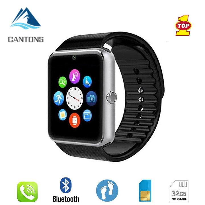 CANTONS Smartwatch GT08 Clock With Sim Card Slot Push Message Bluetooth Connectivity Android Slive One Size