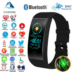 CANTONS QW18 Smart Bracelet Heart Rate Monitor Waterproof Color Screen Fitness Tracker Smartwatch Black One Size