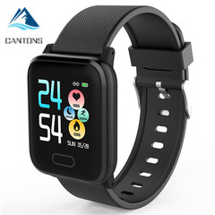 CANTONS HI16 Smartwatch Wearable Waterproof Bluetooth Pedometer Heart Rate Monitor Color Display Black One Size