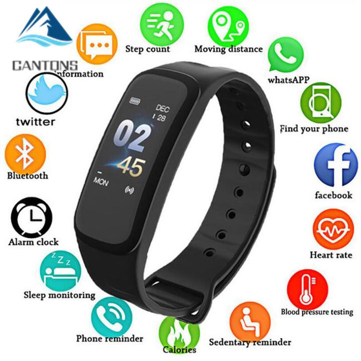 CANTONS C1Plus Smartwatch Blood Pressure Fitness Tracker Heart Rate Monitor Smart Bracelet Black Men Black One Size