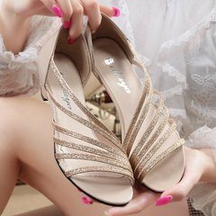 shoes Ladies heels womens shoes fringed hollow fashion shoes sandals party shoes gold 35 gold 35