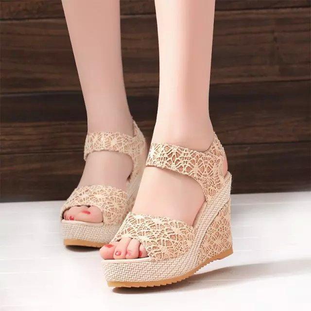 Women's Shoes Flat Shoes wedge heelWomen's Shoes of muffin SandalsMagic Sticke Women's Shoes gold 40