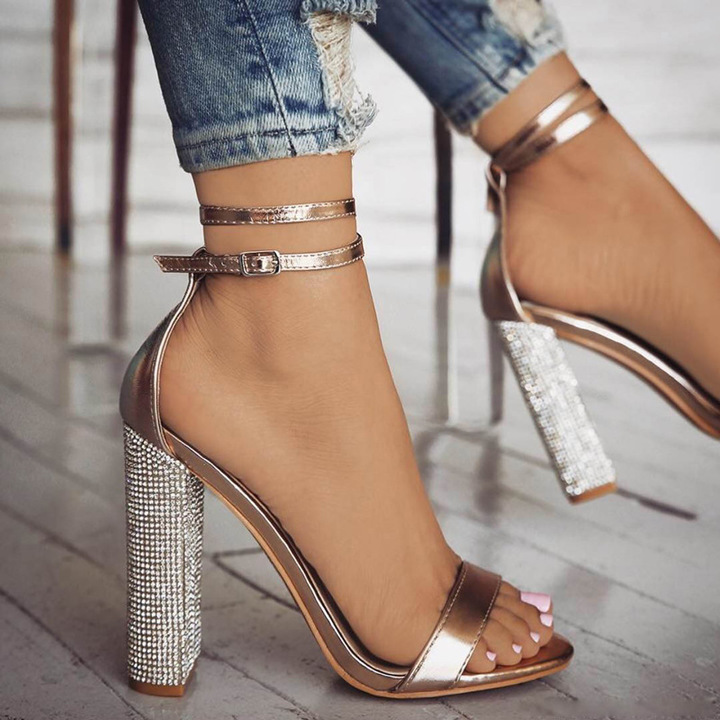 Women's shoes Large size sandals High-heeled shoes Bandage Sandals one Word shoes Fashion shoes black 34
