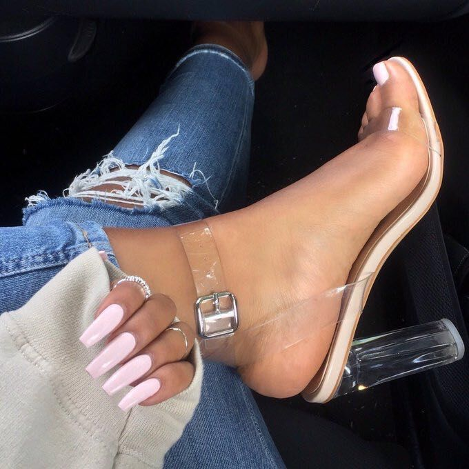 Women's High-heeled shoes Crystal transparent High-heeled shoes Coarse heelLarge size women's shoes apricot 39