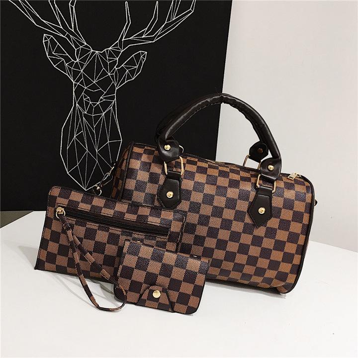 New female bag pillow bag three-piece women's single shoulder slung portable bag Wallet Lattice 1