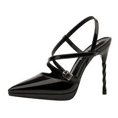 shoe shoes women shoes heels shoes ladies shoe women Pointed shallow slim-heeled sandals Fine heel black 34