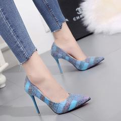 shoes women shoes heels shoes ladies cusp cnntrast  color  Large size 35-42 lady shoes About8 -10cm blue 35