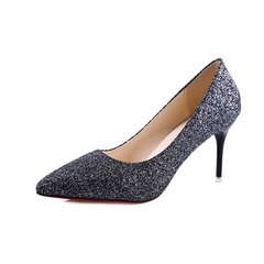 shoes women heels shoes ladies cusp stiletto Princess banquet Dinner Sexy all-match Wedding shoes40 black 34