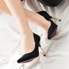 women heels shoes ladies cusp stiletto Sexy Shallow Mouth  Single shoes lady shoes heel About6-8cm black 35