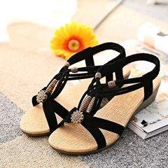women shoes ladies shoes flats Single shoes Sandals  Flat Shoes Retro Beads Peep-toe lady shoes40 black 35