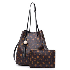 Bags Female the single shoulder Handbag Inclined shoulder Bucket bags Two-piece Printing lady bags black 1