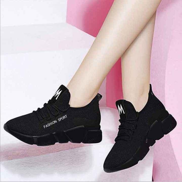 Shoes women's Shoes canvas flat Shoes Women's Shoes Sports shoes Net flour Breathable lady shoes black 40