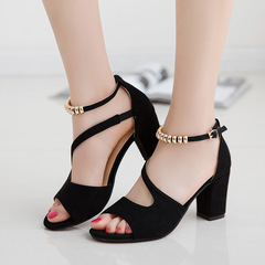 Shoes High-heeled shoes high shoes The fish's mouth Sandals Coarse heel Sexy lady shoes black 34