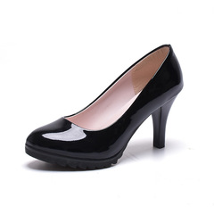 Shoes women heels shoes ladies cusp stiletto Sexy Leather shoes all-match Occupation lady shoes35-40 black 35