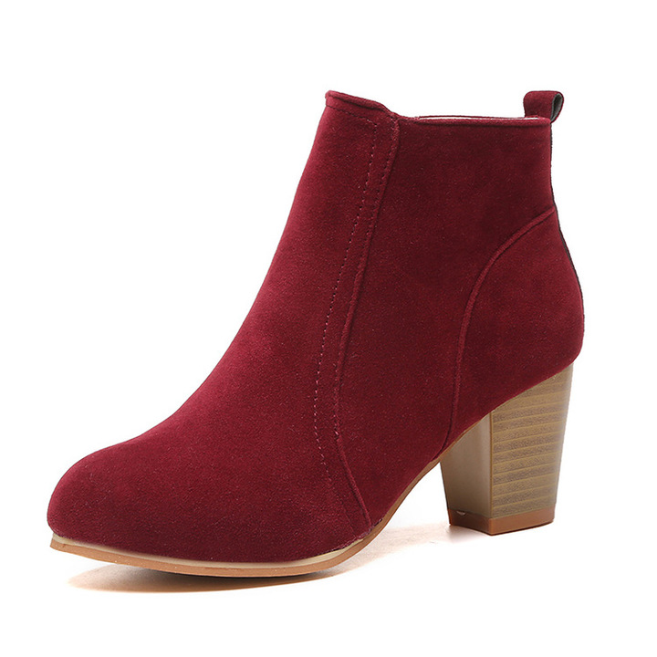 Shoes shoes women shoes for ladies European and American Martin boots with medium heel and thick gules 39